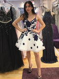 A-Line Spaghetti Straps Black Short Homecoming Dresses,Affordable Juniors Homecoming Dresses,VPBD106