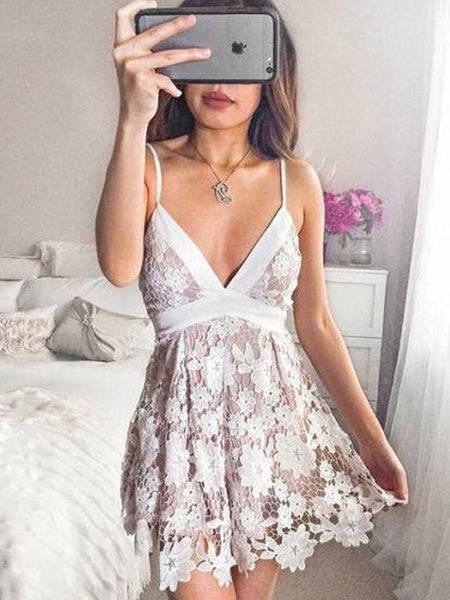 Fabulous A-Line Deep V-Neck Tea-Length Homecoming Dresses,Sexy Dusty Pink Spaghetti Straps Homecoming Dresses,VPBD108