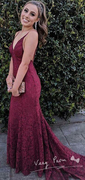 Sexy Mermaid Spaghetti Straps Open Back Lace Long Prom Dresses Online,VPPD1083