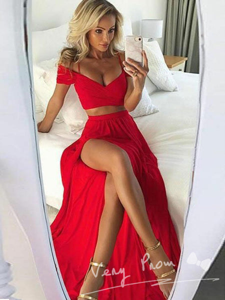A-Line Two Pieces Deep V-Neck Off Shoulder Red Long Prom Dresses With Split Side,VPPD1085