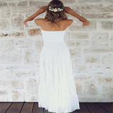 Alluring A-Line Off Shoulder Lace Long Wedding Dresses With Short Sleeves,Simple Cheap Beach Wedding Dresses,VPWD109