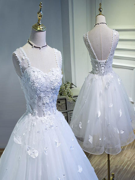 Sexy A-Line Straps Tulle Tea-Length Prom Dresses,White Appliques Short Prom Dresses Online,VPPD109