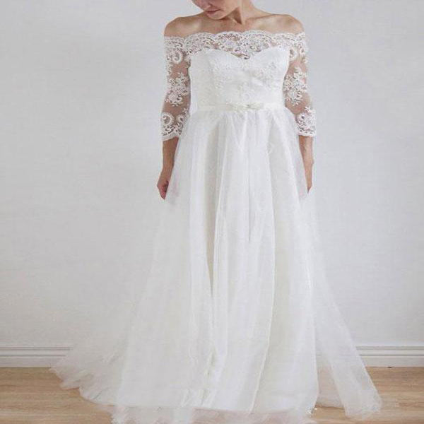 Fashionable Ivory Off Shoulder Long Sleeve Lace A-line Cheap Wedding Dresses,VPWD010