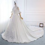 Graceful A-Line Sweep Train With Half Sleeves,Scoop Neckline Satin Long Wedding Dresses With Lace,VPWD011