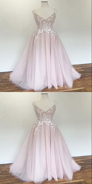 Modest Pink Floor-Length Prom Dresses With Spaghetti Straps,Excellent Appliques Long Prom Dresses,VPPD110