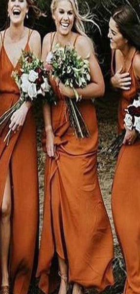Burnt Orange Cheap Bridesmaid Dresses With Spaghetti Straps,Modest Long Bridesmaid Dresses,VPWG111