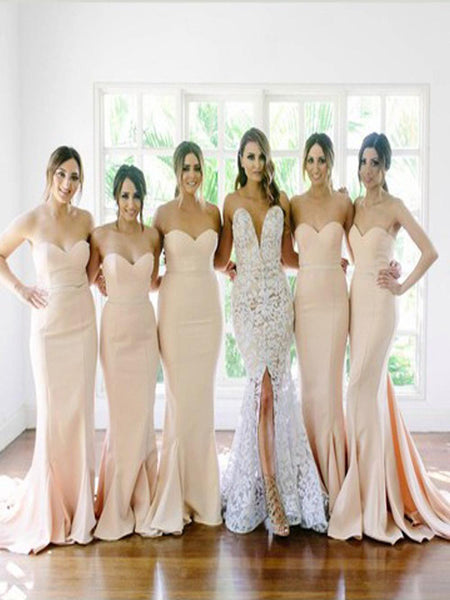 2019 New Arrival White Sweetheart Mermaid Sexy Long Wedding Party Dresses,VPWG034