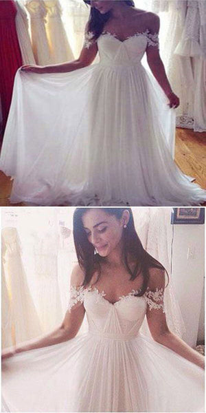 Sweep Train Chiffon White Wedding Dresses With Appliques,Pretty A-Line Off Shoulder Wedding Dresses,VPWD114