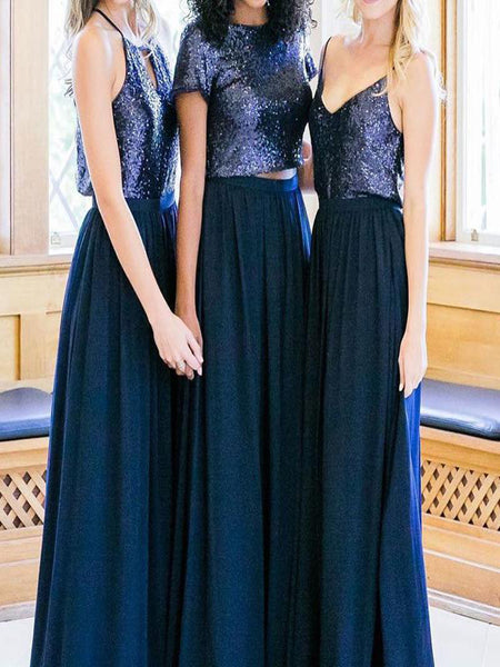 Awesome Cheap Mismatched Navy Sequin Custom Long Bridesmaid Dresses With Spaghetti Straps,VPWG115
