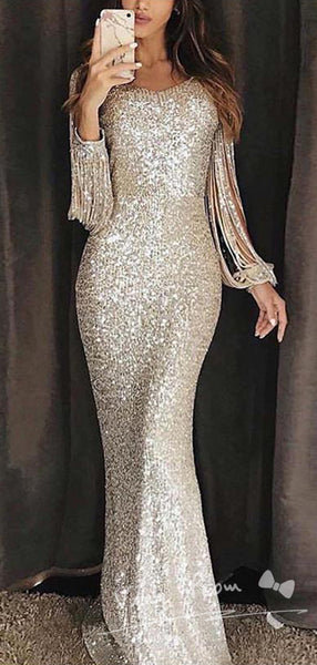 Mermaid Round Neck Long Sleeve Sequined Affordable Long Prom Dresses Online,VPPD1154