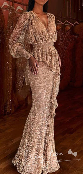 Exquisite A-Line V-Neck Long Sleeve Cheap Long Prom Dresses With Ruffles,VPPD1155