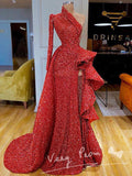 New Arrival A-Line One Shoulder Long Sleeve Red Long Prom Dresses With Slit,VPPD1157