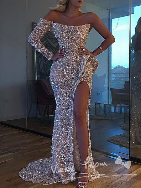 Sparkly Mermaid Strapless One Shoulder Long Sleeve Sequined Floor Length Prom Dresses With Slit,VPPD1158