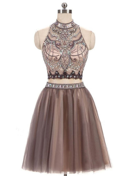 Terrific Two Pieces A-Line Light Brown Short Homecoming Dresses With High Neck ,Beaded Tulle Open Back Homecoming Dresses Online,VPBD115