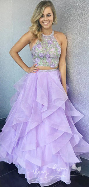 A-Line Two Pieces Round Neck Sleeveless Tulle Long Prom Dresses With Appliques,VPPD1171