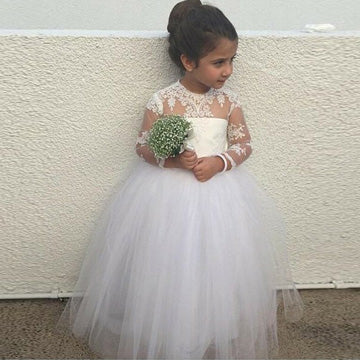 e1770e951b3b9 A-Line Round Neck Long Sleeves Tulle Flower Girl Dresses With Appliques ,FG118