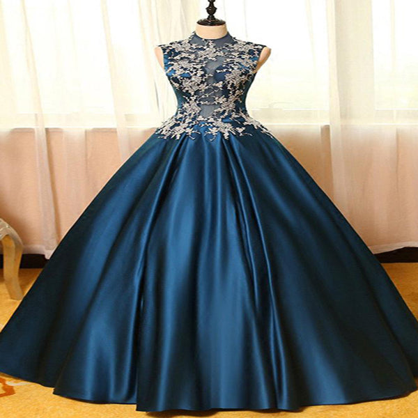 Graceful Navy Blue Ball Gown Floor Length Prom Dresses With High Neck,Appliqued Sleeveless Long Prom Dresses Online,VPPD119
