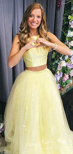A-Line Round Neck Sleeveless Two Piece Tulle Long Prom Dresses,VPPD1192