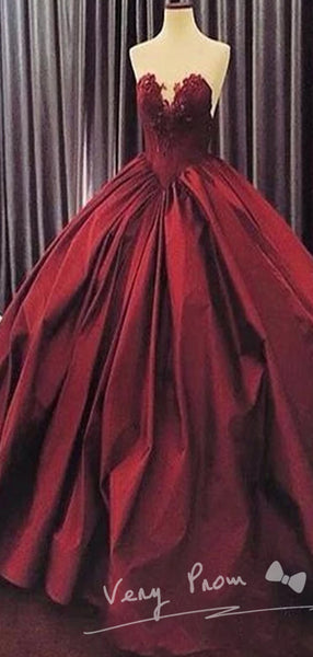Sexy Burgundy Deep V-Neck Ball Gown Sleeveless With Appliques,Affordable Long Prom Dresses Online,VPPD021