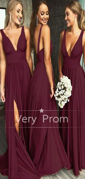 Sexy V-Neck Sleeveless Burgundy Long Bridesmaid Dresses,VPWG287