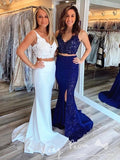 Mermaid Deep V-Neck Sleeveless Two Piece Affordable Long Prom Dresses With Lace,VPPD1228