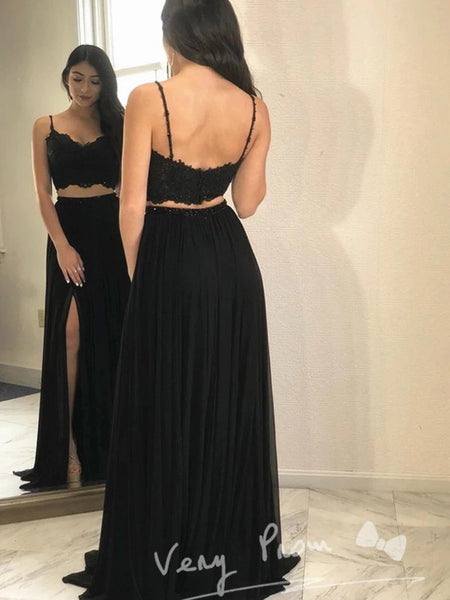 A-Line Deep V-Neck Spaghetti Straps Two Piece Chiffon Split Side Long Prom Dresses With Lace,VPPD1229