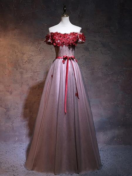 865fbb5a923 Terrific A-Line Off Shoulder Tulle Red Floor Length Prom Dresses With  Appliques