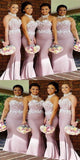 Dusty Pink Mermaid Halter Floor-Length Satin Appliqued Bridesmaid Dresses ,Affordable Bridesmaid Dresses,VPWG126