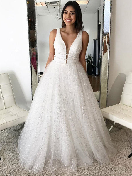 cd5f5ace10b8 Sexy Deep V-Neck Floor-Length Tulle Beaded Sequined Wedding Dresses,Inexpensive  Simple
