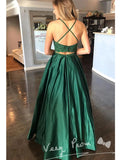 A-Line Spaghetti Straps Two Piece Lace Long Prom Dresses With Beading,VPPD1277