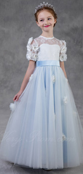 A-Line Round Neck Short Sleeves Tulle Long Flower Girl Dresses With Hand Made Flower,FG128