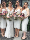 Beautiful A-line Spaghetti Strap Tea Length Lace Ivory Bridesmaid Dresses,Simple Cheap Short Bridesmaid Dresses,VPWG128