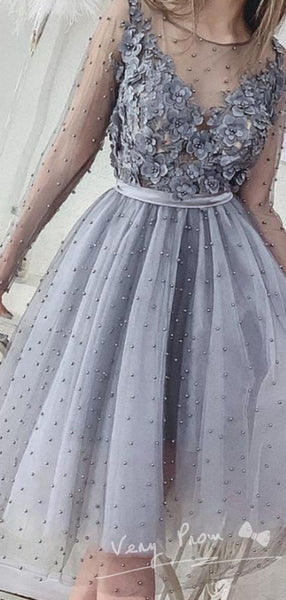 See Through A-Line Round Neck Long Sleeve Hand Made Flower Short Prom Dresses With Beading,VPPD1294