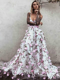 A-Line V-Neck Spaghetti Straps Custom Long Prom Dresses With Hand Made Flower,VPPD1298