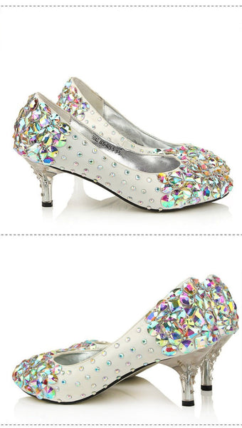 Popular Sparkly Crystal High Heels Pointed Toe White Wedding Bridal Shoes, S011