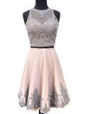 Two Pieces Halter Dusty Pink Short Cheap Homecoming Dresses With Beading,Beautiful Appliqued Sleeveless Homecoming Dresses,VPBD130