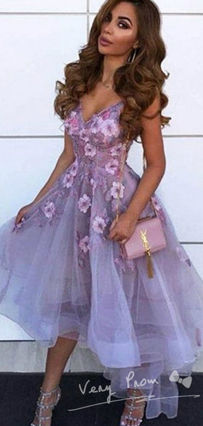A-Line V-Neck Sleeveless Tulle High Low Prom Dresses With Hand Made Flower,VPPD1300