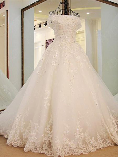 Off-Shoulder Cathedral Train Tulle Rhine Stone Lace Wedding Dresses ...