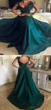 A-Line Cap Sleeveless Satin Long Prom Dresses With Appliques,VPPD131