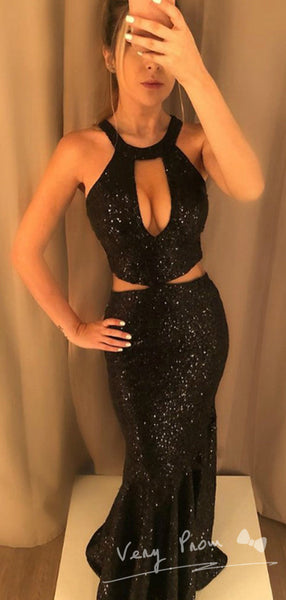 Mermaid Round Neck Two Piece Black Sequined Cheap Long Prom Dresses,VPPD1318