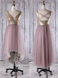 Shining Tulle V-Neck A-Line Blush Pink Short Bridesmaid Dresses With Sequins,VPWG132