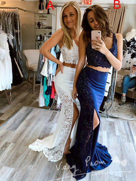 Elegant Mermaid V-Neck Sleeveless Two Piece Split Side Long Prom Dresses With Lace,VPPD1326