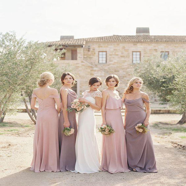 Modest A-Line Cheap Mismatched Chiffon Long Bridesmaid Dresses,Simple Bridesmaid Dresses Online,VPWG133