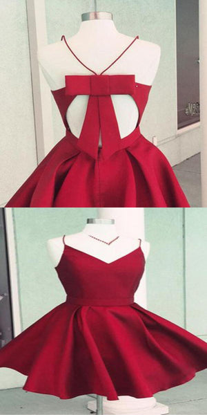 Simple Red Short Homecoming Dresses Under 100, Open Back Homecoming Dresses With Spaghetti Straps,VPBD134