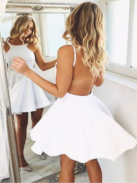 Unique Design Backless Scoop Neck White Short Homecoming Dresses Under 100,Affordable Homecoming Dresses,VPBD135