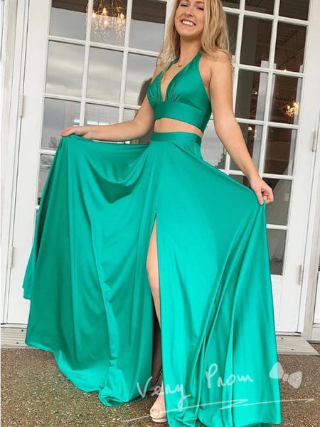 A-Line Deep V-Neck Two Piece Sleeveless Split Side Long Prom Dresses,VPPD1364