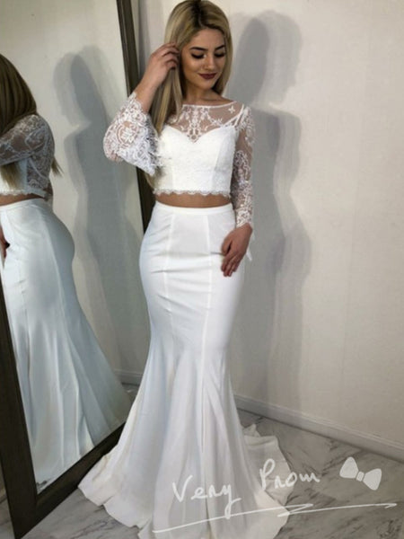 See Through Mermaid Round Neck Long Sleeves Two Piece Long Prom Dresses With Lace,VPPD1368