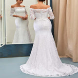 Mermaid Off-Shoulder Sweep Train Lace Elegant Wedding Dresses With 3/4 Sleeves,Wedding Bridal Gowns,VPWD013