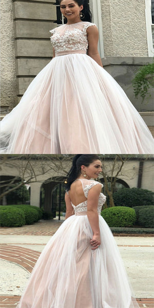 Awesome A-Line Scoop Neckline Appliqued Tulle Open Back Long Wedding Dresses With Beading,VPWD140