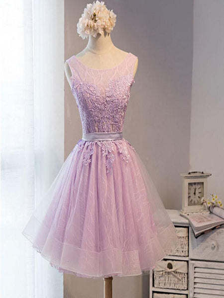 Cute Lilac Lace Short Homecoming Prom Dresses, Affordable Short Party Prom Sweet 16 Dresses, Perfect Homecoming Cocktail Dresses,VPBD140